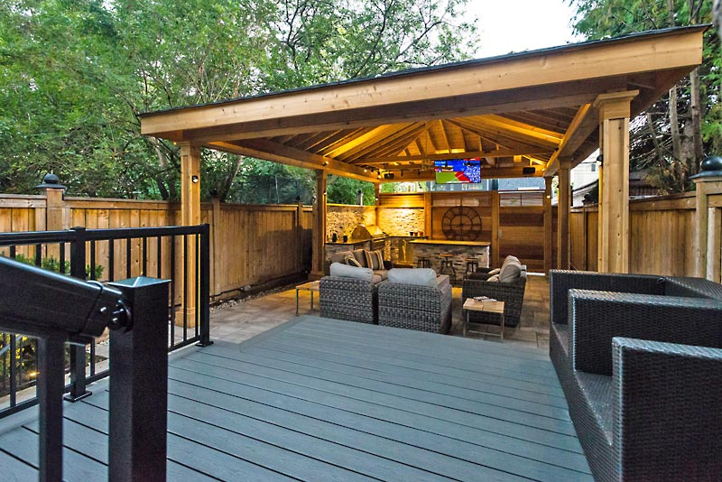 Gazebo covering outdoor entertainment area