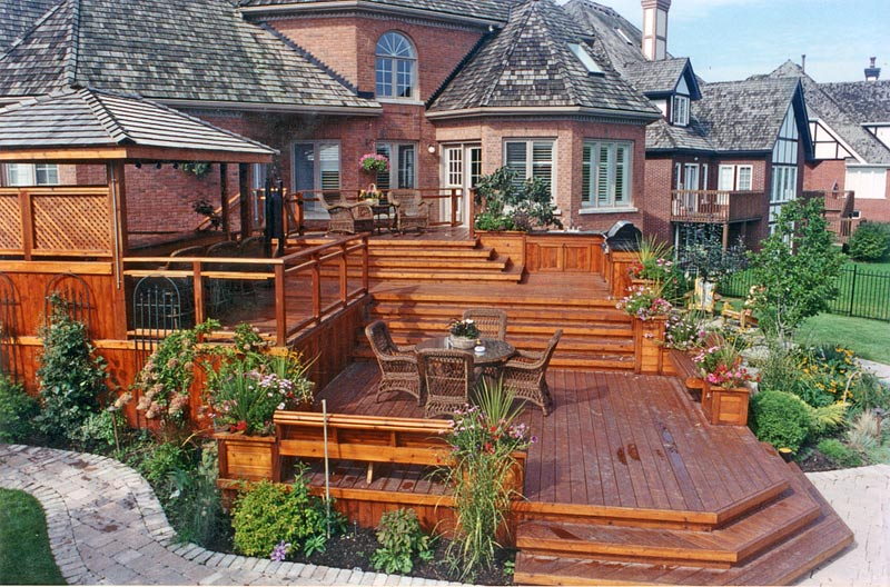 St Patricks Day as well Gazebo Designs additionally Todays Decks Are Anything But Square Deck Design Ideas also Deck Safety Inspection as well Hot Tub Deck Designs Plan. on two tier pergola plans